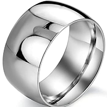 12mm Stainless Steel Plain Wedding Band Ring  7