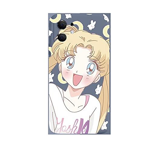 ZMMZ Sailor Moon Anime Series - Funda para iPhone 6 7 8P XR, gel de sílice líquido para mujer, antihuellas, protección de cuerpo completo, color gris oscuro D-se