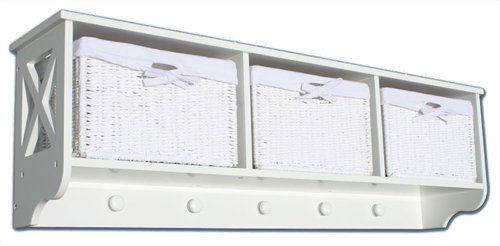 KMH®, Garderoben-Regal mit 3 Körben JYTTE aus weissem Geflecht im Rattan-Look (#204604)