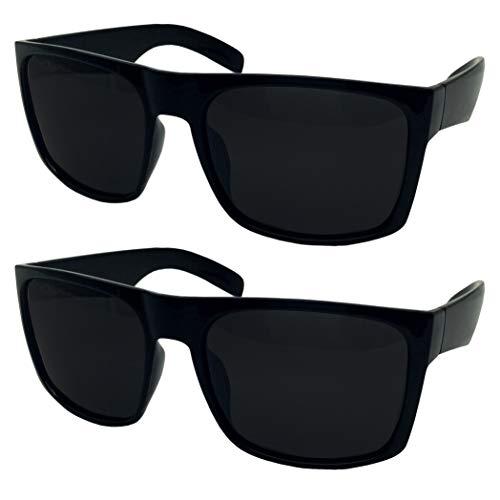 2 Pack XL Polarized Men's Big Wide Frame Sunglasses - Large Head Fit (2 Pack Black)