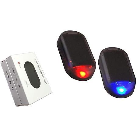 Car Alarm Light Car Solar Power Simulated Dummy Alarm Warning Anti-Theft LED Flashing Security Light with New USB Port, Red&Blue