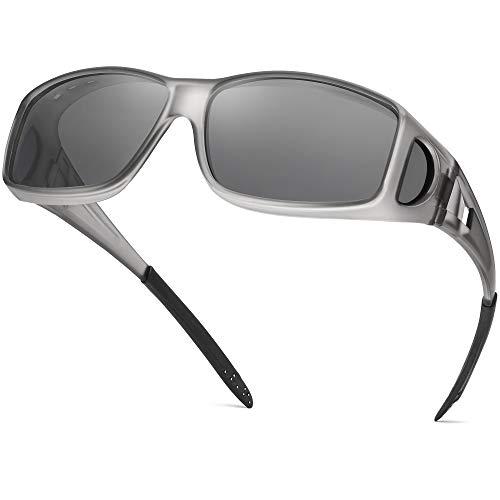 Polarized Sunglasses Fit Over Glasses for Men Women, Wrap Around Sunglasses Over Prescription Glasses UV400 Protection (A02 Matte Grey Frame/Grey Lens)