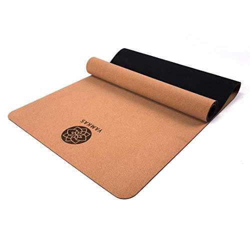 Yamkas Tappetino Yoga Sughero Gomma Naturale • 183 x 61 x 0.4 cm • Tappeto Antiscivolo e Ecologico • Tappetino Fitness Palestra Professionale • Yoga Mat Cork Rubber