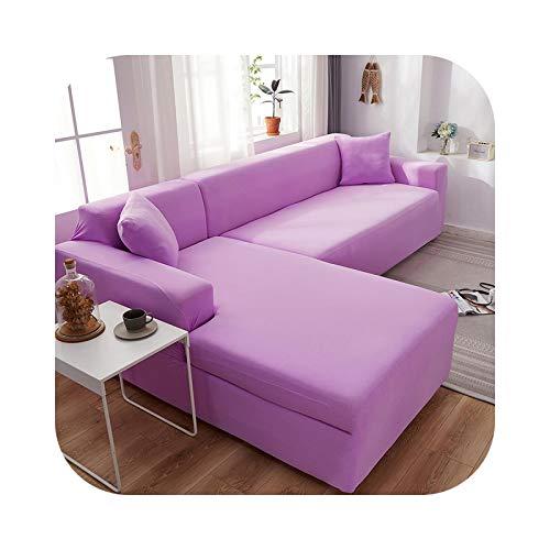 HCIUUI 2 fundas de sofá de color sólido para Living Room Elastic Spandex Couch Cover Stretch Slipcovers-Light Purple-3-Seat 190-230 cm