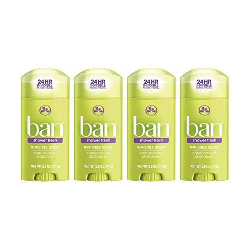Ban Shower Fresh 24-hour Invisible Antiperspirant, 2.6oz Solid Deodorant, Underarm Wetness Protection, with Odor-fighting Ingredients