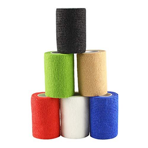 Andux Zone Selbstklebende Bandage 6 Rollen Elastische Cohesive Wrap-Verband Farbe Random ZZTXBD-01 (7.5cm*4.5m)