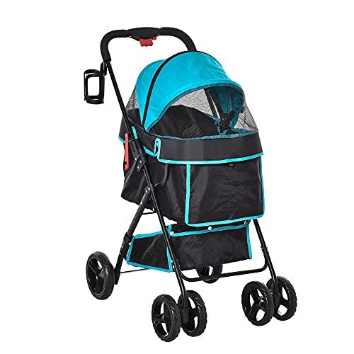 PawHut Foldable Dog Stroller Pet Cat Travel Pushchair Trolley Adjustable...