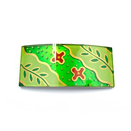 rougecaramel - Barrette cheveux rectangulaire 10cmx4,5cm motif fleur vert