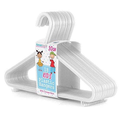 Hangerworld - Perchas De Plástico Para Niños Con Barra, Color Blanco, 30 cm, 36 Unidades