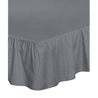 Utopia Bedding Bed Ruffle Skirt (King, Grey) - Brushed Microfiber Bed Wrap with Platform - Easy Fit - Gathered Style - 3 Sided Coverage