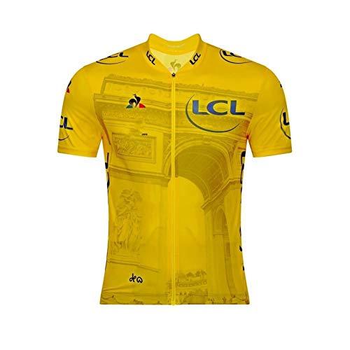 SYXYSM Tour Leader France Honneur Couleurs Jaune Vélo Cycle De Maillot Respirant Vêtements Maillot Vélo VTT (Color : Yellow 2, Size : M)