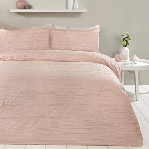 Sleepdown Super Soft Textured Crinkle Blush Pink Duvet Cover Quilt Bedding Set with Pillowcases - Double (200cm x 200cm)