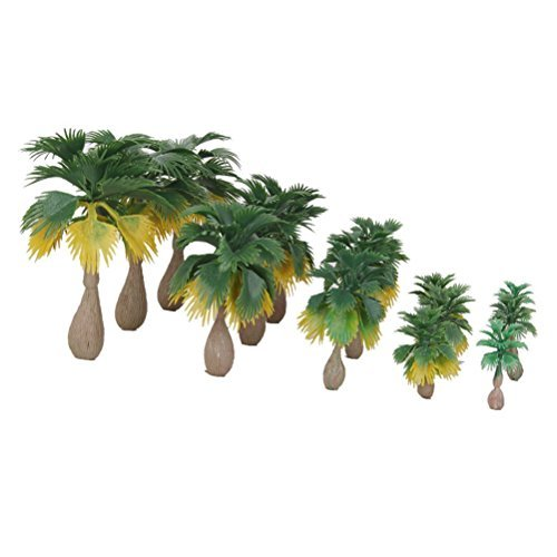 NUOLUX 15pcs Model Train Palm Trees 5 Size Tropical Forest Landscape Scale N Z 1:100-1:300