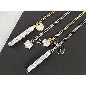 Personalized Raw Howlite Bar Pendant Necklace | Dainty, Minimalist Jewelry