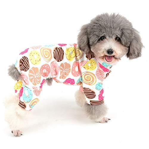 Zunea Kleiner Hund Jumpsuit Schlafanzug Overalls Weiche Baumwolle Strampler Entzückender Donut Gedruckt Welpen Schlafkleidung Vier Beine Pjs Bekleidung für Haustier Katzen Welpen XL