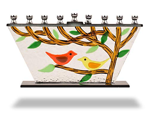 Ner Mitzvah Glass Hanukkah Menorah - Tree of Life Chanukah Menorah - Handcrafted Glass Painted - Fits All Standard Chanukah Candles