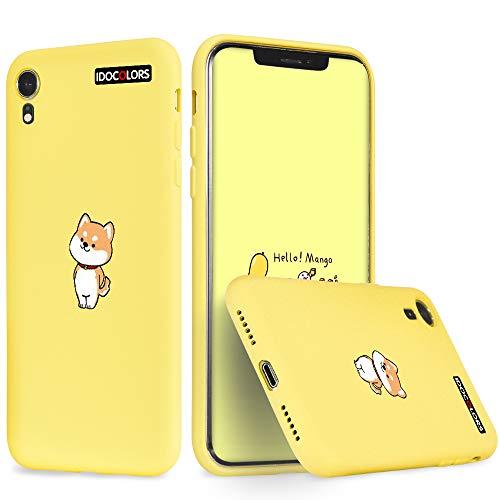 Idocolors Für iPhone 6s / 6 Hülle Flüssig Silikon Gelb mit Süßem H& Muster Handyhülle Bumper R&umschutz Hülle Dünn Weich rutschfest Stoßfest Tier Schutzhülle Slim Cover
