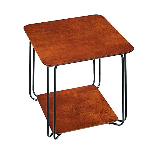 MEIDUO Tables Fer petite table basse Mini table de chevet occasionnelle 49 * 49 * 52cm Bureau d'ordinateur (Couleur : Marron)