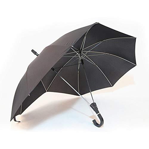 ACAMPTAR Kreative Mode Zweipolige Paar Regenschirm Volltonfarbe Halbautomatische Premium-Geschaeft-Regenschirm Doppelte Oberseite Verbunden Regenschirm Schwarz