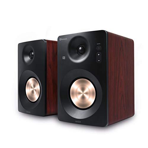 HAISER HSR 120 BT | 60 Watt RMS Aktiv Studio-Lautsprecher Paar mit • Bluetooth • NFC • Boxen • Neodym | Studio-Monitore Aktiv-Lautsprecher-System Regal-Lautsprecher Multimedia-Monitore PC-Lautsprecher