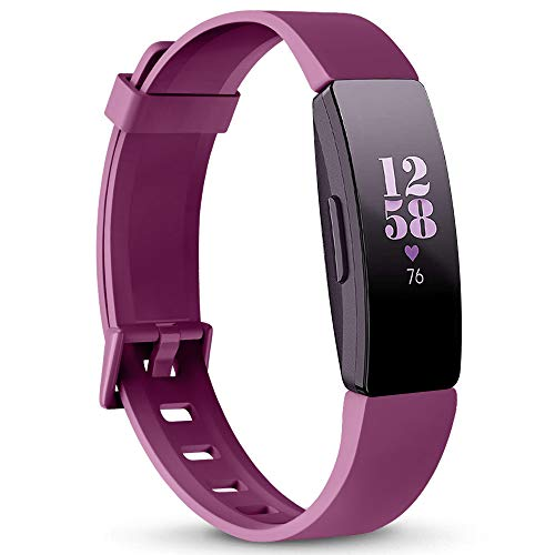 AK Soft TPU Wristbands Compatible with Fitbit Inspire HR/Fitbit Inspire/Fitbit Ace 2 Bands, Sports Waterproof Wristbands for Fitbit Inspire HR Fitness Tracker (Sangria, Small)