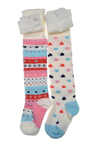 WB Socks 2 Paar Mädchen-Strumpfhosen Herzmuster, mode Strumpfhosen