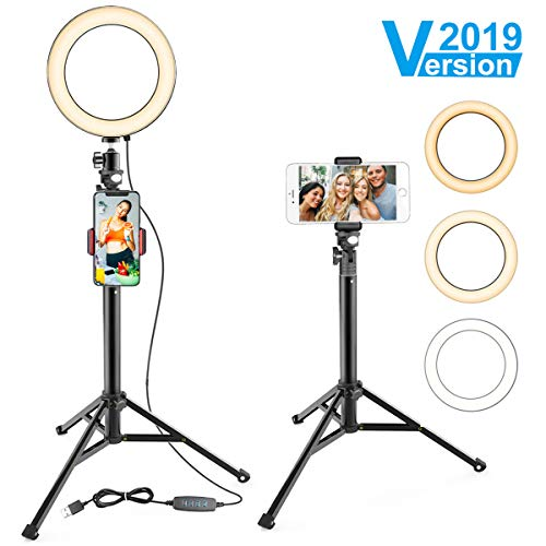 "8"" Ring Light with Stand & Cell Phone Holder for YouTube Video and Makeup, Selfie Light Ring for Live Stream/Photography, Compatible with iPhone Android,Remote Control"