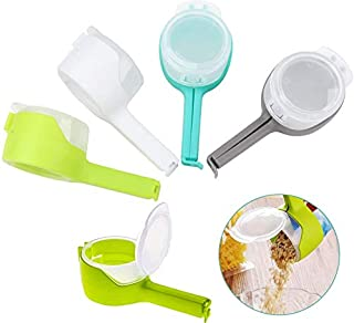 JKOWANS 4Pcs Clip Seal Plastic Bags, Multifunction Seal Pour Food Storage Bag Clip with Large Discharge Nozzle for Storage Food Snack Seal