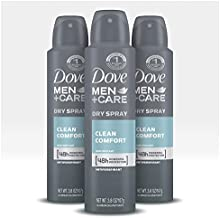 Dove Men+Care Antiperspirant Dry Spray Deodorant for Men Clean Comfort 48 Hour Sweat and Body Odor Protection 3.8 oz 3 Count