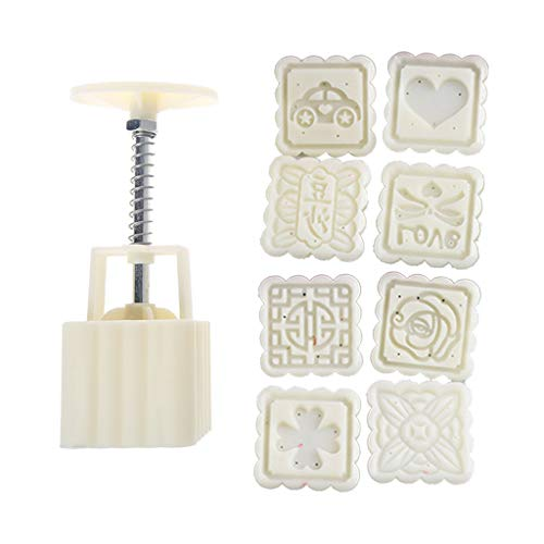 goneryisour 3D DIY Bakeware Plastic Mooncake Chocolate Mold 50/75/100g Cookie Cutter with 3/4/8 Stamps for Mid-Autumn Festival,Hand Press Mould,Various Pattern