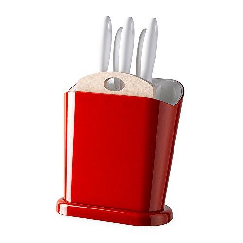 Omada Design Ceppo portacoltelli multifunzione con 5 coltelli in acciaio inox INCLUSI e tagliere in legno, perfetto per tenere in ordine la tua cucina, linea Trendy