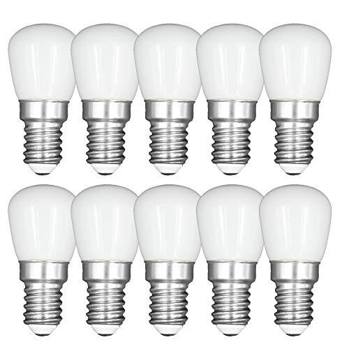 3W E14 LED Birne Kühlschrank Gefrierschrank Licht, Gerätelampe, Schraubbirne, Betriebstemperatur von -20℃ bis +45℃, AC 220-240V, 6000K Kaltweiß, Nicht Dimmbar, Weißes Glas, 10-Packs