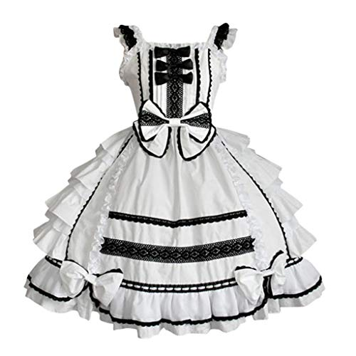 Lolita Gotische Kleider Damen Cosplay Kostuem Nette Mini Kleid Abendkleider Partykleid Piebo Frauen Lace A-Linien Kleid Bowtie mit Spitze Ärmel Cocktailkleid Mittelalter Anime Maid Kleid Weihnachten
