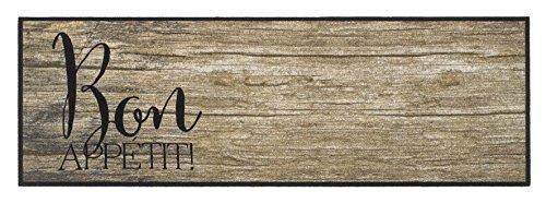 Läufer Küchenläufer Küchenteppich Teppich Teppichläufer Antirutschmatte Küchenmatte Vorleger für die Küche waschbar rutschfest 50x150 cm groß Landhaus-Stil Holzoptik Bon Appetit Braun