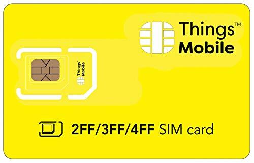 DATEN-SIM-Karte 2FF / 3FF / 4FF für IOT und M2M - Things Mobile - mit weltweiter Netzabdeckung und Mehrfachanbieternetz GSM/2G/3G/4G. Ohne Fixkosten und ohne Verfallsdatum. 10 € Guthaben inklusive