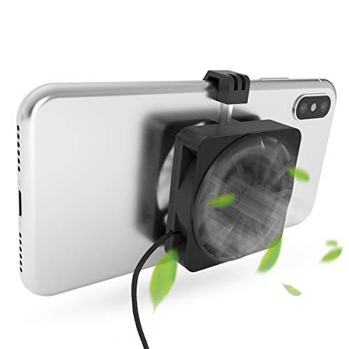 Dumcuw Handy-Kühler, tragbarer Handy-Ventilator, LED-Licht mit USB-Ladekabel, Handy-Kühler geeignet zum Spielen und Ansehen von Videos