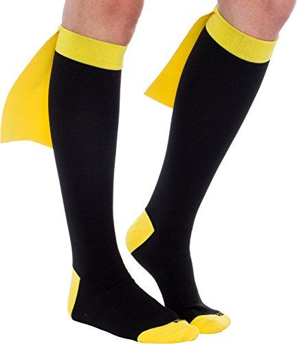 Superhero Compression Running Socks - Graduated 15-25 mmHg Knee-Hi Caped Fun Socks (Blk/Yel, M/L)