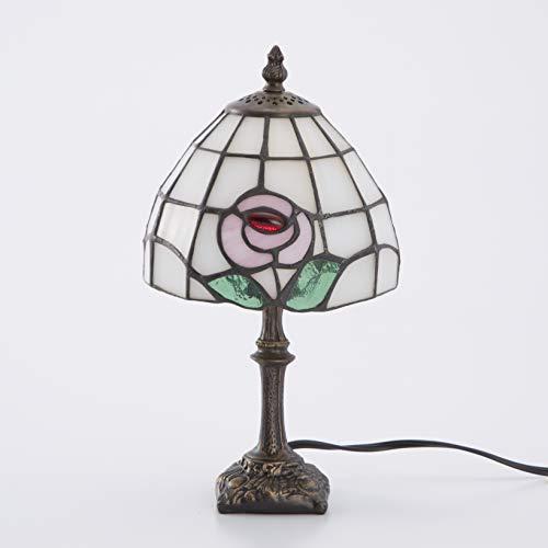 Lieto ステンドグラスランプ テーブルランプ アンティーク 小型 花柄 ピンク ステンドランプ ステンドガラス 卓上照明 間接照明