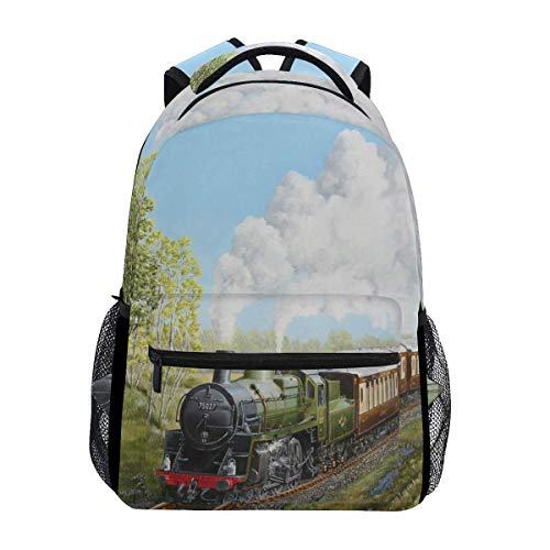 poiuytrew Special Steam Train Railway Landscape Backpack Students Shoulder Bags Travel Bag College School Backpacks