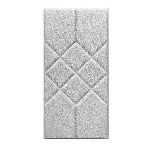 3D zachte lederen wandpanelen, waterdichte zelfklevende PE behang anti collision sticker voor kinderkamer slaapkamer decoratie, 60 * 30cm,White,1pc