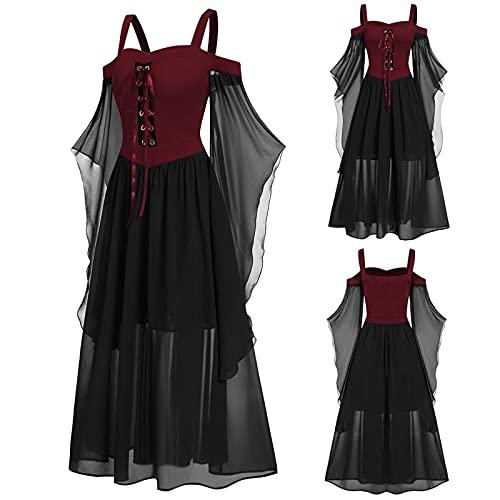 Aobliss Womne Vestido medieval fro con mangas de mariposa con cordones para Halloween vestido gtico, 4-rojo, XL