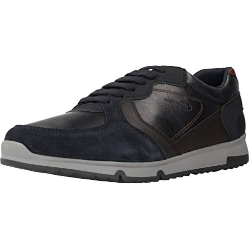 Geox Uomo Basso Wilmer, Uomini Sneaker,Scarpe Sportive,Sneaker,Scarpa Stringata,Traspirante,Navy/Dk Coffee,46 EU / 11 UK