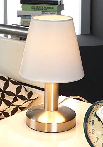Nachttischlampe Tischleuchte Tischlampe | Metall | Stoff | Weiß | Touch Me Touchfunktion | ohne Leuchtmittel