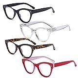 eyekepper 4 paia design occhio di gatto occhiali grandi da lettura per leggere donna gradazione +2.00