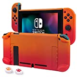 Nintendo switch カバー スイッチケース 分離式 任天堂 分体式 Joy-Conカバー 取り外し可能 全面保護 薄型軽量 耐衝撃 キズ防止 PC素材 着脱簡単 かわいい 肉球スティックカバー付き(オレンジ・レッド)