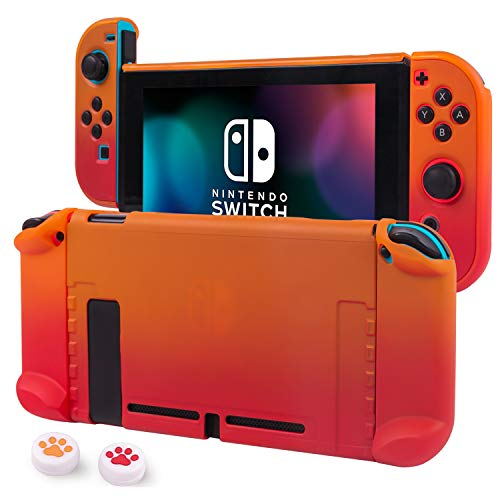 Cybcamo Protective Case Cover for Nintendo Switch, Hard Shell Case Handheld Grip for Nintendo Switch Console and Joy-Con Controllers with 2 Thumbsticks (Orange)