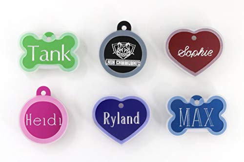 Lobo Commander Pet Tag Silencer Pet ID Tags Custom Engraved for Your Dog Or Cat, Personalized Front and Back, Up to Four Lines of Text Per Side, Heart Bone or Circle, 8 Colors to Choose from