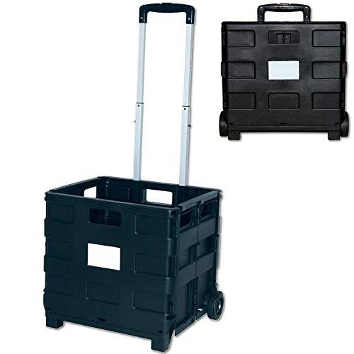 KK Verpackungen Klappbarer Einkaufstrolley | Einkaufswagen mit verstellbarem Griff | Faltbarer Einkaufsroller bis 35 kg Belastbarkeit & 33,6 l Ladebox in Schwarz