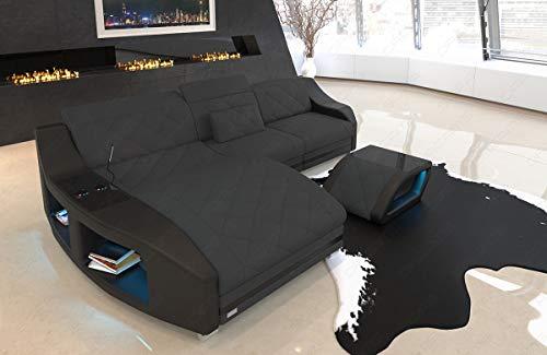 Sofa Dreams stoffen hoekbank Swing L-vorm met Chesterfield stiksel en ottoman