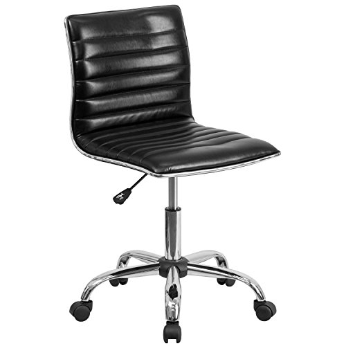 Flash Furniture Low Back Designer Armless Black Ribbed Swivel Task Office Chair